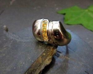 Moderner-925-Silber-Ring-Italien-Arezzo-Sterling-Gelbe-Steine-Wie-Citrin-Elegant