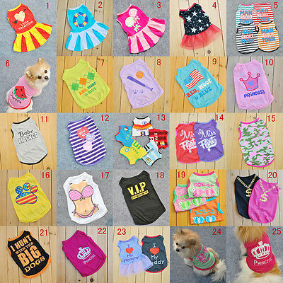 New 20 Styles Pet Puppy Summer Shirt Small Dog Cat Pet Clothes Vest T Shirt