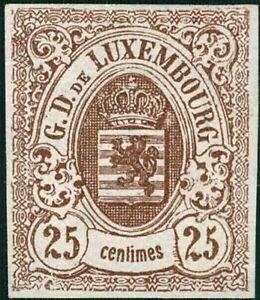 Lussemburgo LUXEMBOURG 1859 STEMMA 25c. inutilizzato MH * mi:8 kw:450 € esaminato fspl