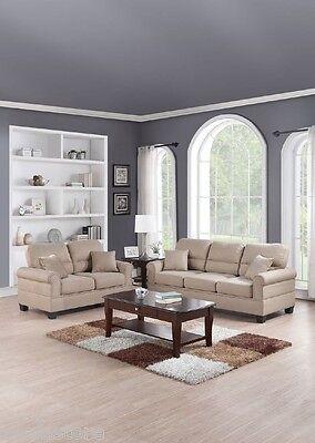 Modern Sofa Set Sand Color Polyfiber Sofa & Loveseat Simple Cushion Seating New