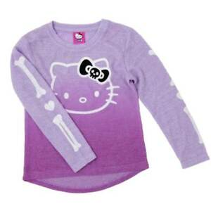 ddbb87a7 Image is loading Girls-Hello-Kitty-Halloween-Shirt-Skeleton-Sweater-Top-
