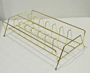 Metal-Brass-8-Track-Holder-Mid-Century-Modern-MCM-Nice-No-Reserve