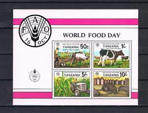 Tansania-1982-Block-30-FAO-Welterhahrung-Traktor-postfrisch