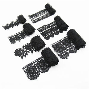 Black-Lace-Trim-Ribbon-Crochet-Applique-Embroidered-Weeding-Dress-Sewing-Craft