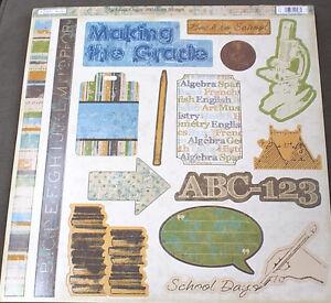 12x12 Scrapbook Paper Sticker 15p School Middle High Science Math Make Grade TPC