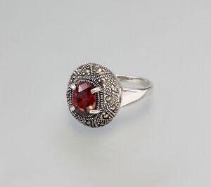 9907093 925er Silber Markasiten-Granat-Ring Gr. 62