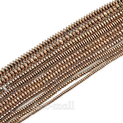 Natural Gemstone Rose Gold Hematite Smooth Faceted Rondelle Beads 2mm 3mm 4mm