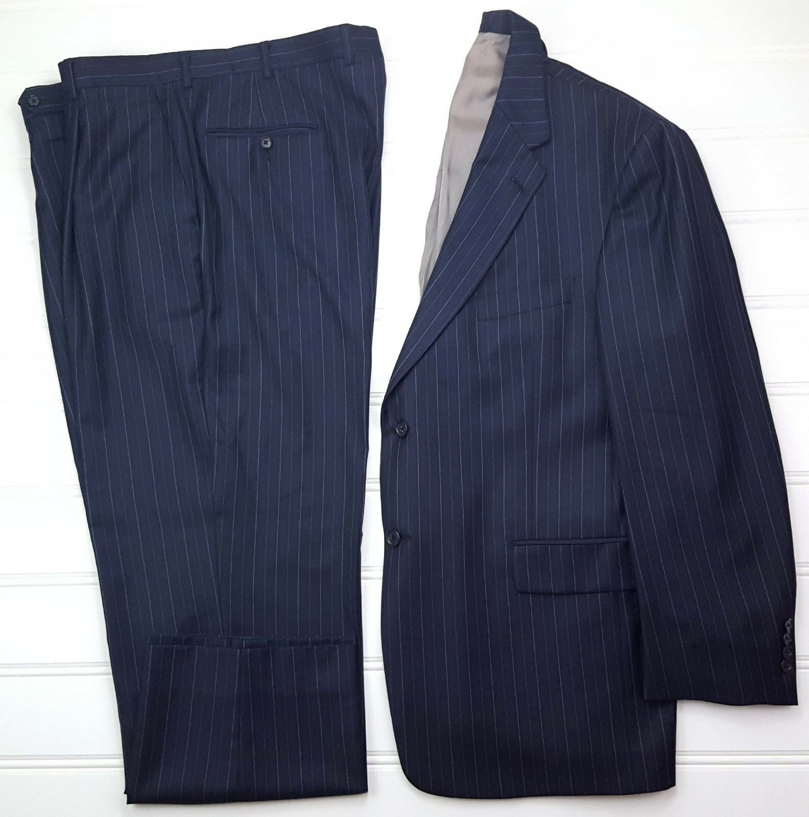 Hart Schaffner Marx bluee Suit 46R Pinstriped Mens 2 Button Lined Vents Wool Size