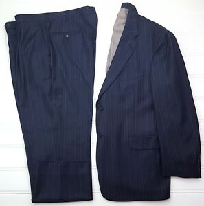 Hart-Schaffner-Marx-Blue-Suit-46R-Pinstriped-Mens-2-Button-Lined-Vents-Wool-Size