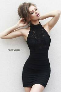 32048-Sherri-Hill-Black-Bandage-Party-Evening-Formal-Dress-Gown-Prom-Size-USA-6