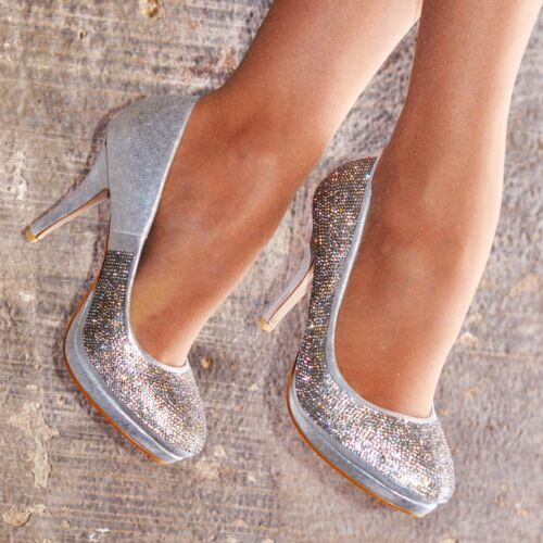 Ladies Diamante Shoes High Heel Occasion Pumps Party Court Shoe Closed Toe size