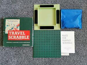 Vintage-Voyage-Scrabble-100-COMPLET-Board-Carreaux-Noir-detenteurs-de-regles