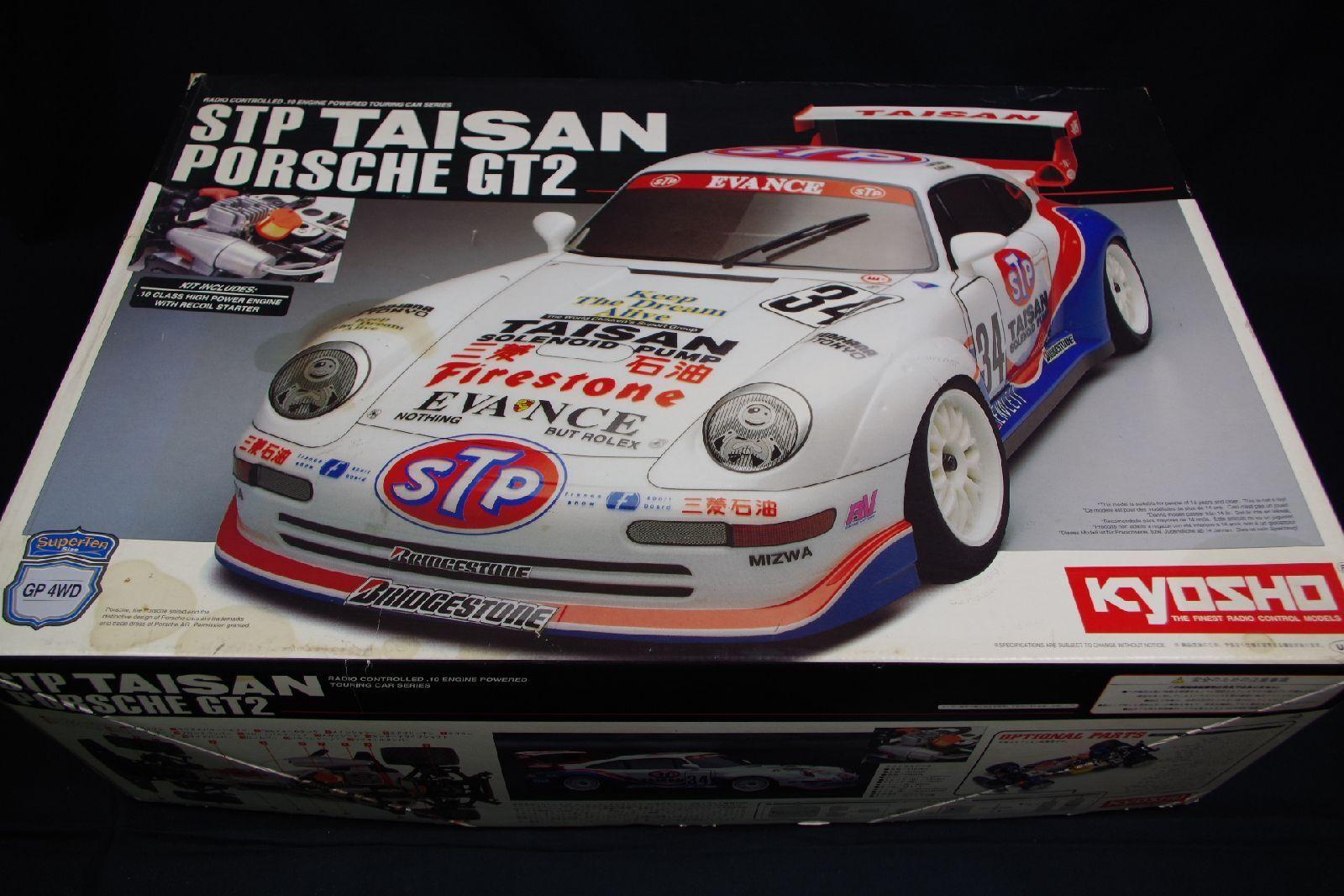 Raro Kyosho STP TAISAN Porsche GT2 4WD radio escala 1 10 Car Kit plástico modelo