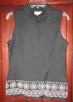 Talbots Collection 10 S M Vest Jacket Shirt Button Down Embroidered Sleeveless