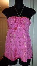 NWOT Cynthia Rowley Silk Blend Hot Pink w.Gold Thread Baby Doll Halter top sz 4