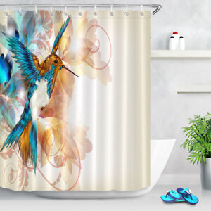 72x72/'/' Watercolor dragonfly Shower Curtain Bathroom Waterproof Fabric 12 Hooks