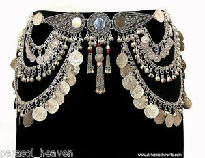 MIRROR-SILVER-TONE-COIN-BELT-CHAIN-LINK-TRIBAL-BELLY-DANCE-MEDALLION-ANTIQUE