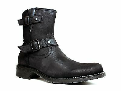 MARCO FERRETTI  Mens Urban Casual Motorcycle Black Leather/Suede  Boot
