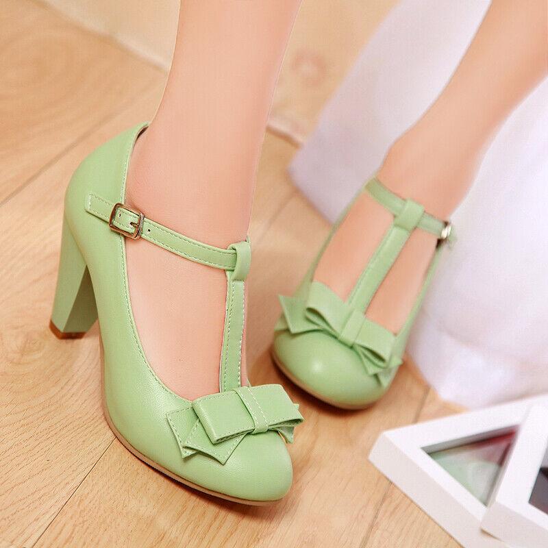 44673681d3e01 Block Heel T-strap Bowtie Mary Jane Lolita Pumps Women Court shoes ...