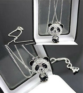 New-Fashion-Women-Silver-Panda-Rhinestone-Pendant-Necklace-Sweater-Chain-Jewelry