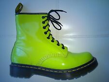 DOC DR MARTENS NEON LIME GREEN TEXTURED LEATHER BOOTS RARE UNISEX 6UK US:W8 M7