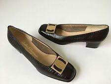 Women's Salvatore Ferragamo Dark Brown Signature Pump Shoes 8B