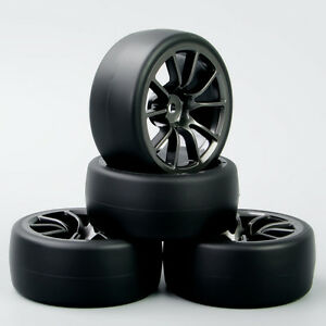 4Pcs Tires /& Wheel Rim 12mm Hex For HSP HPI 1//10 RC Speed Drift Flat Racing Car