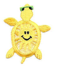 Turtle - Yellow W/Sun & Glasses - Embroidered Iron On Applique Patch