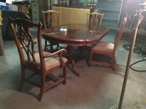 Details about Dining room set by Universal, Alexander Julian Home, 6 chairs  with china cabinet