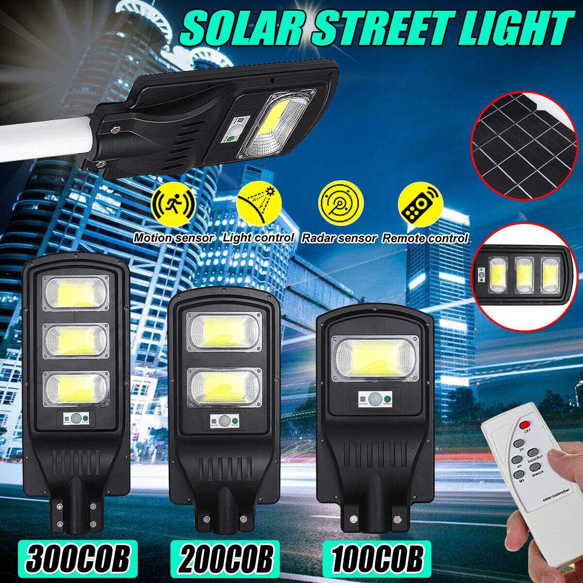 200 300COB Solar LED Street Light Radar Induction PIR Sensor Outdoor Wall Lamp