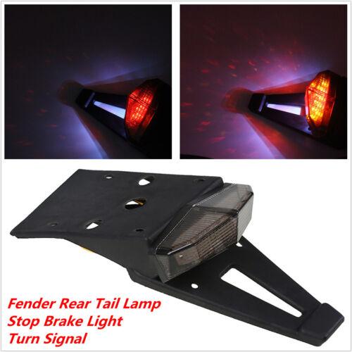 Smoke Lens Motorcycle Enduro Fender LED Brake Stop Lamp Rear Tail Turn Light