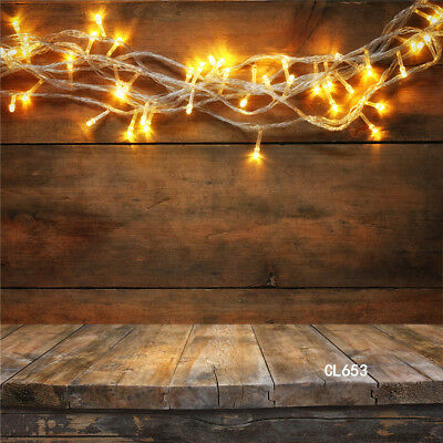 Christmas Gold Lights Rustic Wood Vinyl Studio Backdrop