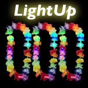 LED-HAWAIIAN-LEI-HULA-LIGHT-UP-FLOWER-GARLANDS-NECKLACE-BEACH-PARTY-COSTUME-LOT