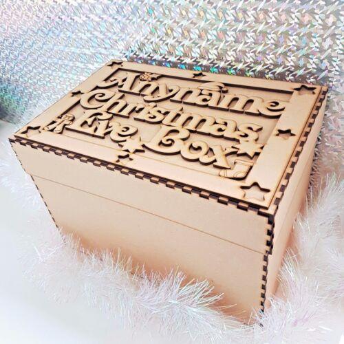 En Bois Personnalisé Noël boîte et Topper MDF Arbre de Noel Cadeau Memory Box