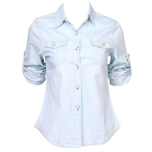 Retro Women Casual Blue Jean Soft Denim Long Sleeve T Shirt Tops Blouse Jacket