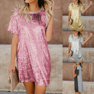 Women-Girl-Summer-O-Neck-Dress-Sequin-Short-Sleeve-Solid-Splice-Mini-Dress-Top-P