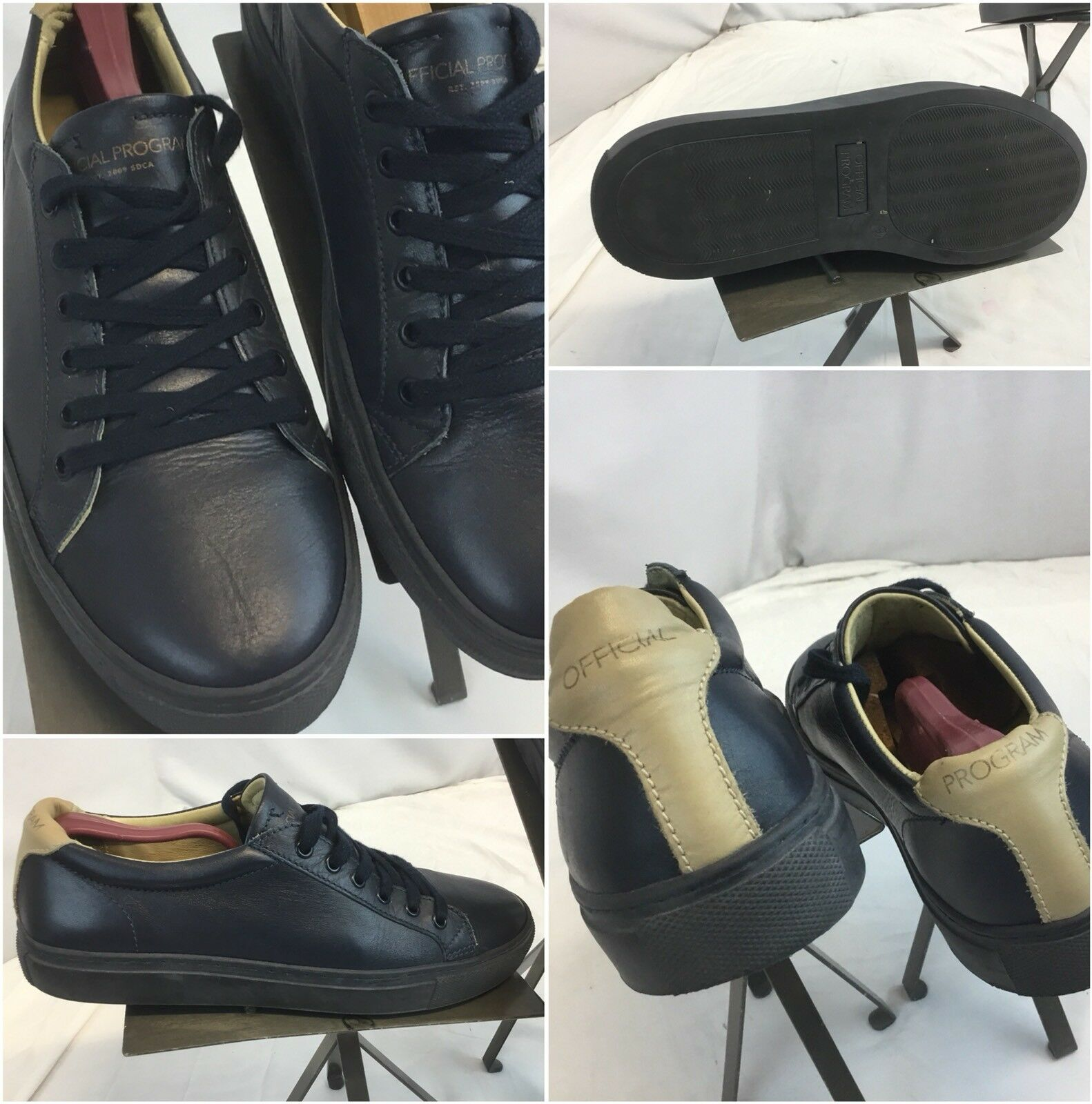 Official Program Sneakers shoes Sz 9 Blac Leather Tan Portugal Worn 2x YGI H8S-4