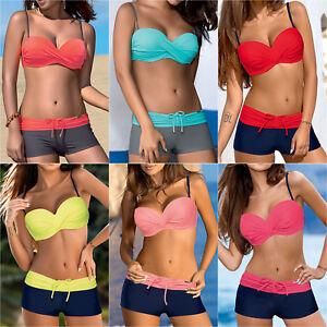 4ca347eee3cb7 Women Push Up Bikini Set Padded Boy Shorts Boxers Swimwear Swimsuit ...