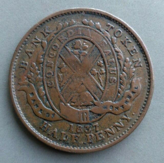 1/2 penny bank token Canada 1837, VF