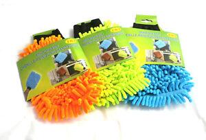 3 Stück Microfaser Chenille 2in1Handschuh Autopflege Haushalt Putzhandschuh