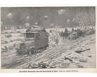 Kampf - Ypern - Lastkraftwagen Lkw Weltkrieg 1914 - 18 Great War Illustration