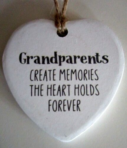 """SHARE A MESSAGE LOVING HEART ON HANGING STRING /""""GRANDPARENTS CREATE MEMORIES.../"""""""