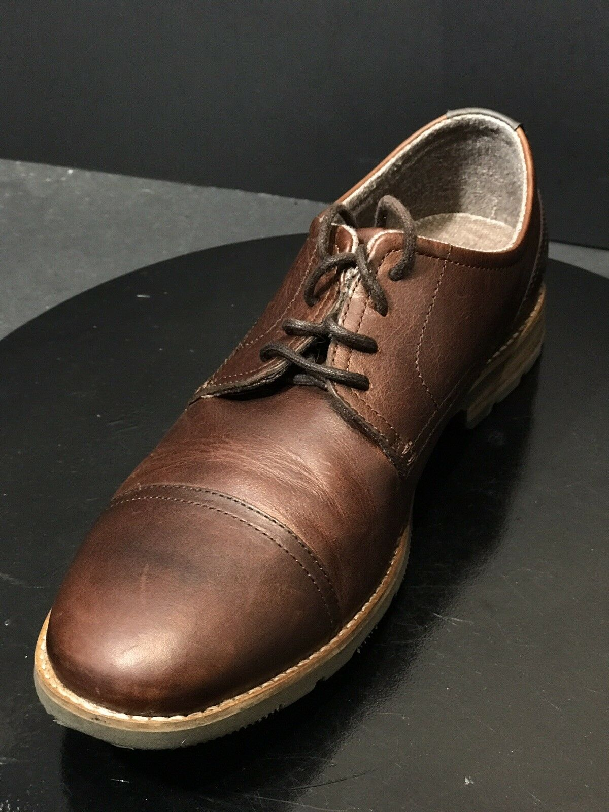 ROCKPORT MEN'S LEDGE HILL 2 CAP OXFORD BROWN LEATHER LACE UP SHOES SIZE US 10 M