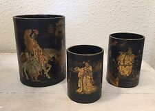 Antique Asian Chinese? Hand Painted Lacquer Cups Vases Old Art Gold & Black