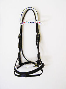 ENGLISH SNAFFLE BRIDLE WITH REINS DK BROWN WITH WHITE PADDED NOSEBAND (EB_001)