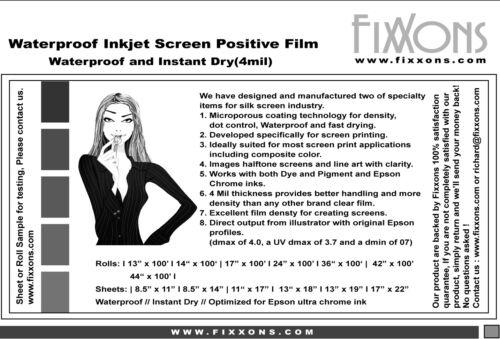 "Waterproof Inkjet Screen Printing Positive Film 8.5/""x14/"" 100 Sheet"