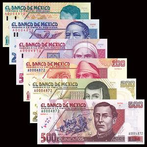 Mexico-SET-6-PCS-10-500-Pesos-1992-Prefix-A-Same-Numbers-Banknotes-UNC