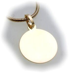 Anhaenger-Gravurplatte-rund-echt-Gold-585-incl-Gravur-Gelbgold-Qualitaet-Neu-14kt