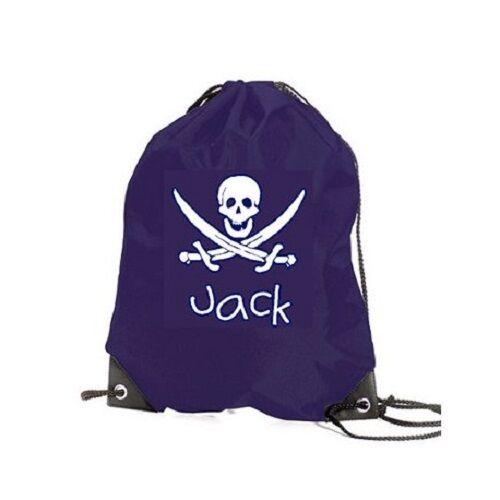 votre nom Personnalisé enfants sac de gym retour à l/'école pe et pirate design