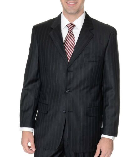 Abriani Athletic Fit Black Pinstriped Three button 100/% Wool Sportcoat Blazer